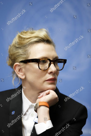 Stock Image of Australian actress and UNHCR goodwill ambassador Cate Blanchett talks to the media during a press conference after speaking at a High-Level Segment on Statelessness to the 70th annual meeting of the UNHCR Executive Committee, at the European headquarters of the United Nations in Geneva, Switzerland, 07 October 2019.