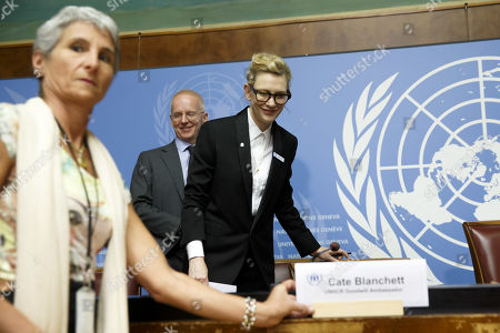 Stock Photo of Australian actress and UNHCR goodwill ambassador Cate Blanchett arrives for a press conference after speaking at a High-Level Segment on Statelessness to the 70th annual meeting of the UNHCR Executive Committee, at the European headquarters of the United Nations in Geneva, Switzerland, 07 October 2019.