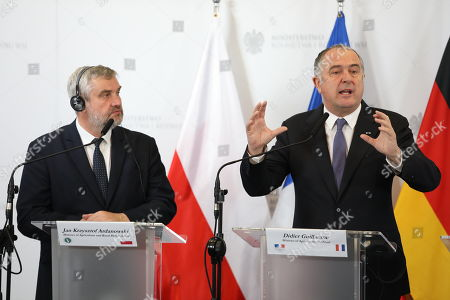 Agriculture ministers of the Weimar Triangle Jan Krzysztof Ardanowski (L) and Frence?s Didier Guillaume (R) with Germany?s Julia Kloeckner (unseen) hold a joint press conference after their meeting in Warsaw, Poland, 07 October 2019.  The Weimar Triangle group consist of Germany, Poland and France and meets on a regular basis to discuss on cooperation in various fields.