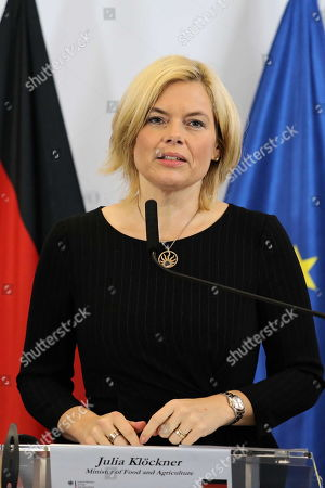 Agriculture ministers of the Weimar Triangle Germany?s Julia Kloeckner with Frence?s Didier Guillaume and Poland?s Jan Krzysztof Ardanowski (unseen) hold a joint press conference after their meeting in Warsaw, Poland, 07 October 2019.  The Weimar Triangle group consist of Germany, Poland and France and meets on a regular basis to discuss on cooperation in various fields.
