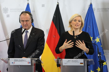 Agriculture ministers of the Weimar Triangle Frence?s Didier Guillaume (L) and Germany?s Julia Kloeckner (R) with Poland?s Jan Krzysztof Ardanowski (unseen) hold a joint press conference after their meeting in Warsaw, Poland, 07 October 2019.  The Weimar Triangle group consist of Germany, Poland and France and meets on a regular basis to discuss on cooperation in various fields.