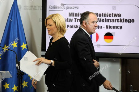 Agriculture ministers of the Weimar Triangle Frence?s Didier Guillaume (R) and Germany?s Julia Kloeckner (L) with Poland?s Jan Krzysztof Ardanowski (unseen) hold a joint press conference after their meeting in Warsaw, Poland, 07 October 2019.  The Weimar Triangle group consist of Germany, Poland and France and meets on a regular basis to discuss on cooperation in various fields.