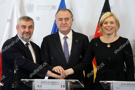 Agriculture ministers of the Weimar Triangle (L-R) Poland?s Jan Krzysztof Ardanowski, Frence?s Didier Guillaume and Germany?s Julia Kloeckner hold a joint press conference after their meeting in Warsaw, Poland, 07 October 2019.  The Weimar Triangle group consist of Germany, Poland and France and meets on a regular basis to discuss on cooperation in various fields.