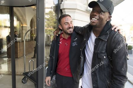 Switzerland's national soccer team players Josip Drmic (L) and Denis Zakaria (R) arrive at the hotel for a preparation camp of the upcoming UEFA Euro 2020 qualifying soccer matches, in Lausanne, Switzerland, 07 October 2019. Denemark will play Switzerland for the UEFA Euro 2020 qualifying Group D soccer match on October 12 in Copenhagen.