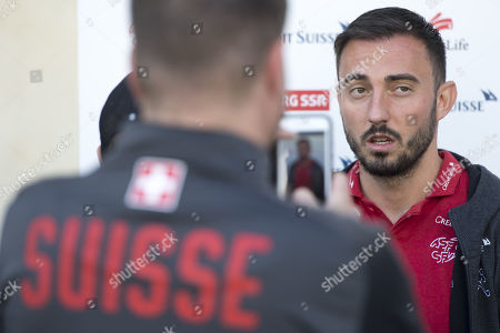 Stock Image of Switzerland's national soccer team player Josip Drmic arrives at the hotel for a preparation camp of the upcoming UEFA Euro 2020 qualifying soccer matches, in Lausanne, Switzerland, 07 October 2019. Denemark will play Switzerland for the UEFA Euro 2020 qualifying Group D soccer match on October 12 in Copenhagen.