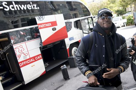 Switzerland's national soccer team goalkeeper Yvon Mvogo arrives at the hotel for a preparation camp of the upcoming UEFA Euro 2020 qualifying soccer matches, in Lausanne, Switzerland, 07 October 2019. Denemark will play Switzerland for the UEFA Euro 2020 qualifying Group D soccer match on October 12 in Copenhagen.