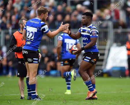 Stock Image of Levi Davis of Bath Rugby celebrates his try with team-mate Rhys Priestland