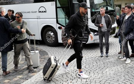 Germany's Serge Gnabry (L) and Germany's Emre Can arrive  at the team Hotel in Dortmund, Germany, 07 October 2019. Germany will face Argentina in an International Friendly soccer match on 09 October and Estonia in an UEFA EURO 2020 qualifier on 13 October 2019.