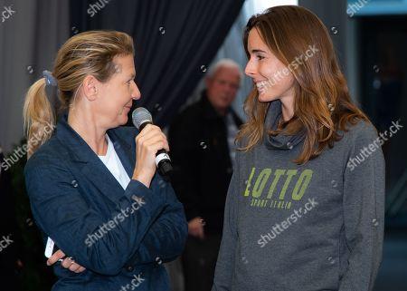 Alize Cornet of France visits the tournament village at the 2019 Upper Austria Ladies Linz WTA International tennis tournament