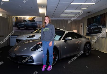 Stock Picture of Alize Cornet of France visits the tournament village at the 2019 Upper Austria Ladies Linz WTA International tennis tournament