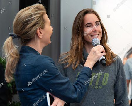 Stock Image of Alize Cornet of France visits the tournament village at the 2019 Upper Austria Ladies Linz WTA International tennis tournament