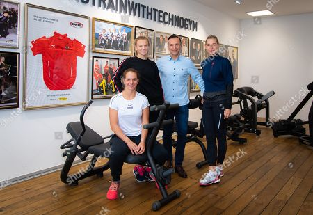 Katerina Siniakova of the Czech Republic, Melanie Klaffner of Austria & Barbara Schett of Austria visit the Technogym headquarters ahead of the 2019 Upper Austria Ladies Linz WTA International tennis tournament