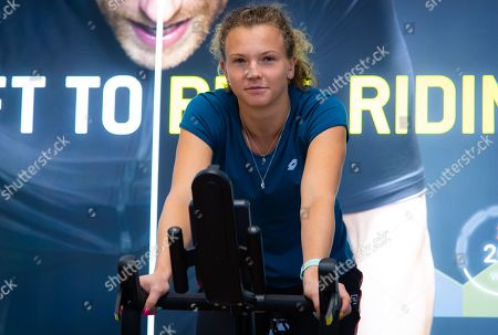 Katerina Siniakova of the Czech Republic visits the Technogym headquarters ahead of the 2019 Upper Austria Ladies Linz WTA International tennis tournament