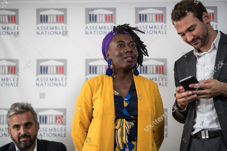 French Members of Parliament for La France Insoumise (France Unbowed), Daniele Obono (C) gives a press conference surrounded by LFI party members Alexis Corbiere (L) and Hogo Bernalicis (R) prior to a debate at the National Assembly on migration in Paris, France, 07 October 2019.