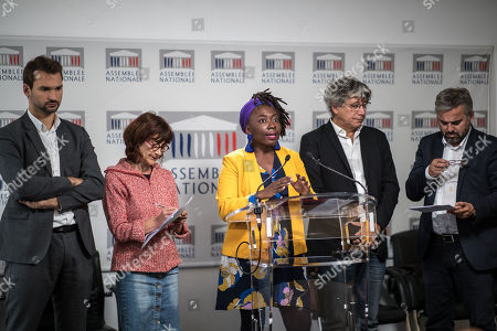 French Members of Parliament for La France Insoumise (France Unbowed), Daniele Obono (C) gives a press conference surrounded by LFI party members prior to a debate at the National Assembly on migration in Paris, France, 07 October 2019.