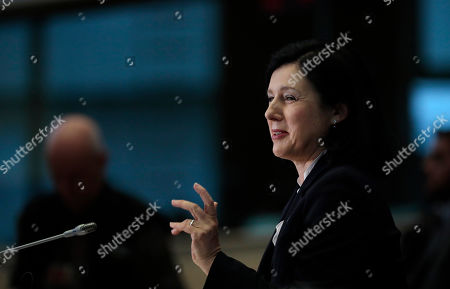 Stock Image of European Commissioner designate for Values and Transparency Vera Jourova answers questions during her hearing at the European Parliament in Brussels