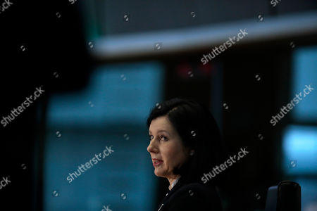 Stock Photo of European Commissioner designate for Values and Transparency Vera Jourova prepares to answer questions during her hearing at the European Parliament in Brussels