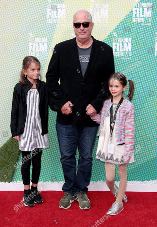 Stock Picture of Roger Michell with daughters Maggie and Sparrow