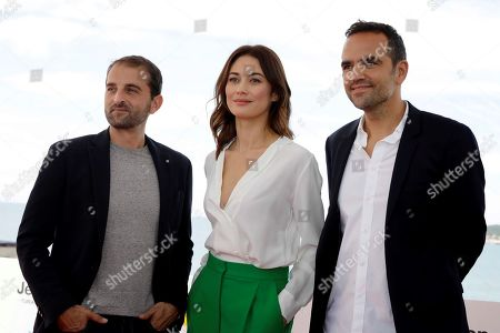 French Director of Photography Reynald Capurro, Ukranian actress/cast member Olga Kurylenko and French film director Christian Volckman pose during the presentation of the movie 'The Room' at the 52nd Sitges International Fantastic Film Festival, in Sitges, Catalonia, Spain, 07 October 2019. The festival runs from 03 to 13 October.