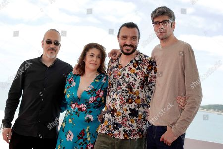 Stock Picture of Film director Oscar Martin Fernandez, producer Elena Munoz Gonzalez, and actors/cast members David Pareja and Javier Botet pose during the presentation of the movie 'Amigo' at the 52nd Sitges International Fantastic Film Festival, in Sitges, Catalonia, Spain, 07 October 2019. The festival runs from 03 to 13 October.