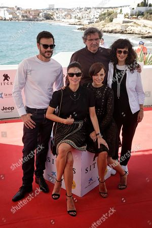 Daniel Grao (L), Maribel Verdu (2-L) and Aura Garrido (2-R), director Gerardo Herrero (C) and producer Mariela Besuievsky attend the premiere of the movie 'El asesino de los caprichos' (lit. The killer of the whims) at the 52nd Sitges Fantastic Film Festival near Barcelona, Spain, 07 October 2019. The festival runs from 03 to 13 October.