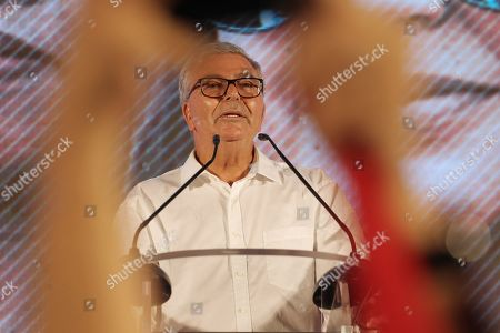 Tunisian presidential candidate Abdelkarim Zbidi speaks during a campaign event in Tunis