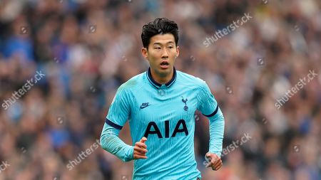 Tottenham's Son Heung-min during the English Premier League soccer match between Brighton and Hove Albion and Tottenham Hotspur at Falmer stadium in Brighton, England