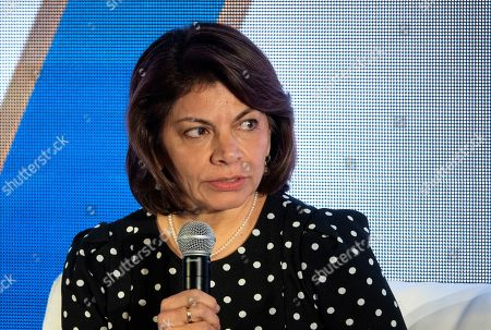 Former Costa Rican President Laura Chinchilla speaks during the 75th General Assembly of the Inter American Press Association (IAPA), in Coral Gables, Florida, USA, 06 October 2019.