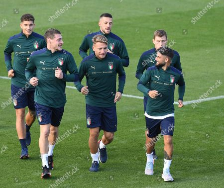 (L-R first row) Italy's players Andrea Belotti, Ciro Immobile and Lorenzo Insigne attend a training session in Coverciano, Florence, Italy, 07 October 2019. Italy will face Greece in their UEFA Euro 2020 group J qualifying soccer match on 12 October 2019.