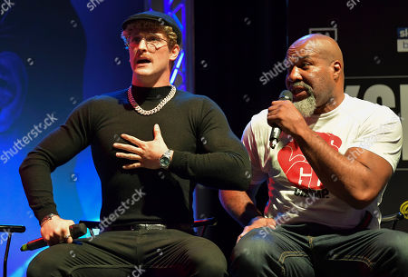 Logan Paul and Shannon Briggs during UK press conference for upcoming fight with KSI