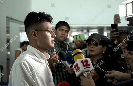 Nicaraguan student Lesther Aleman speaks to the press upon his arrival to Managua, Nicaragua, 07 October 2019. Aleman, who during the first dialogue to overcome the crisis in Nicaragua demanded that President Daniel Ortega put an end to the repression, returned to the country after a year in exile.