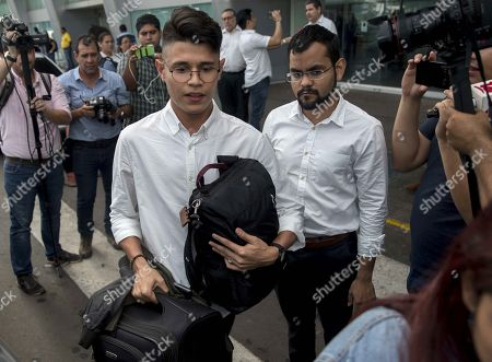 Stock Picture of Nicaraguan student Lesther Aleman (L) is received by the student leader Max Jerez (R) upon his arrival to Managua, Nicaragua, 07 October 2019. Aleman, who during the first dialogue to overcome the crisis in Nicaragua demanded that President Daniel Ortega put an end to the repression, returned to the country after a year in exile.