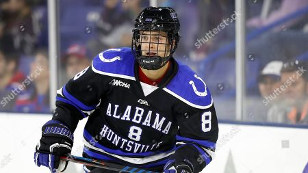 Stock Photo of Alabama-Huntsville's Josh Latta during an NCAA hockey game against Massachusetts-Lowell on in Lowell, Mass