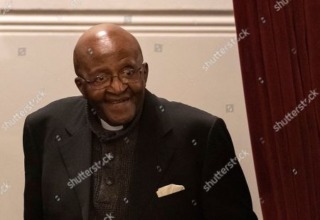 Nobel Peace Prize laureate Archbishop Emeritus Desmond Tutu attends the 9th Annual Desmond Tutu International Peace Lecture at the Cape Town City Hall, South Africa, 07 October 2019. Archbishop Emeritus Desmond Tutu celebrates his 88th birthday on 07 October. The lecture by Zimbabwean-born businessman and philanthropist, Strive Masiyiwa, focused on one of the critical struggles of our time: Overcoming corruption and restoring citizen trust, locally and globally.