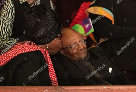 Nobel Peace laureate Archbishop Emeritus Desmond Tutu (R) is kissed by his wife Leah (L) as they attend the 9th Annual Desmond Tutu International Peace Lecture at the Cape Town City Hall, South Africa, 07 October 2019. Archbishop Emeritus Desmond Tutu celebrates his 88th birthday on 07 October. The lecture by Zimbabwean-born businessman and philanthropist, Strive Masiyiwa, focused on one of the critical struggles of our time: Overcoming corruption and restoring citizen trust, locally and globally.