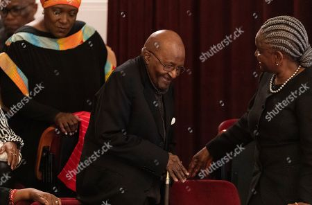 Nobel Peace Prize laureate Archbishop Emeritus Desmond Tutu (C) attends the 9th Annual Desmond Tutu International Peace Lecture at the Cape Town City Hall, South Africa, 07 October 2019. Archbishop Emeritus Desmond Tutu celebrates his 88th birthday on 07 October. The lecture by Zimbabwean-born businessman and philanthropist, Strive Masiyiwa, focused on one of the critical struggles of our time: Overcoming corruption and restoring citizen trust, locally and globally.