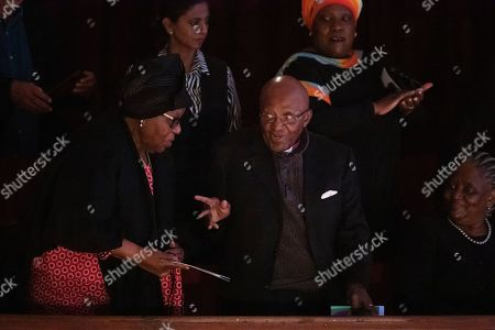 South African Nobel Peace Prize laureate Archbishop Emeritus Desmond Tutu (C) and his wife Leah (L) attend the 9th Annual Desmond Tutu International Peace Lecture at the City Hall in Cape Town, South Africa, 07 October 2019. Archbishop Emeritus Desmond Tutu celebrated his 88th birthday on 07 October.