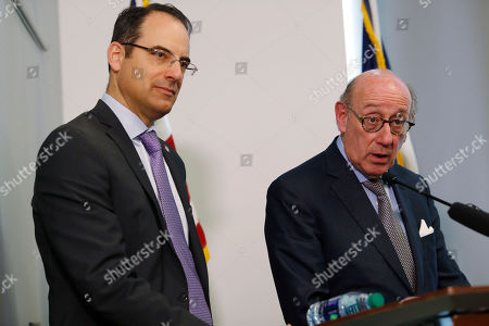 Kenneth Feinberg, Phil Weiser, r m. Kenneth Feinberg, right, who is leading a program to compensate people who were abused by Catholic priests in Colorado, responds to a question as Colorado Attorney General Phil Weiser listens during a news conference to announce that the program is now open for the submission of claims, in Denver. Administrators said that they were sending out packets to 65 people who previously reported abuse to the church to ask if they would like to submit a claim against the three archdioceses--Denver, Colorado Springs and Pueblo