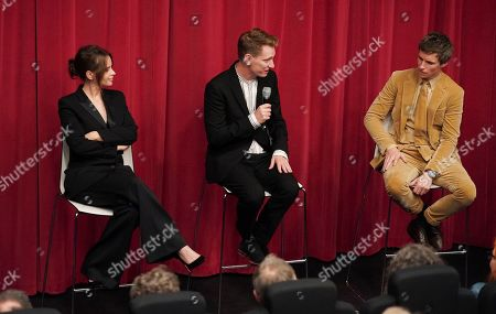 Felicity Jones, Tom Harper and Eddie Redmayne attend the AMPAS BAFTA Screening