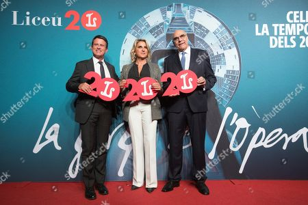 Former France Prime Minister Manuel Valls (L) and Foundation Gran Teatro del Liceo president Salvador Alemany (R) pose for the media during an act for the celebration of the 20th anniversary of Gran Teaatro del Liceo theater reopening in Barcelona, Catalonia, Spain, 07 October 2019. People attended the presentation of opera Turandot at Gran Teaatro del Liceo theater.
