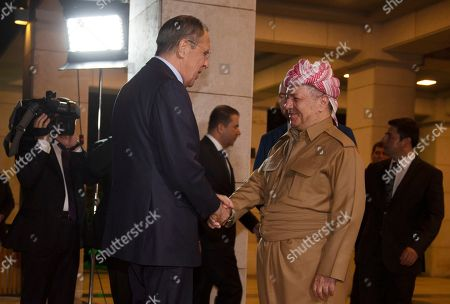 Masoud Barzani, the head of the Kurdistan Democratic Party in Iraq, (R) shakes hands with Sergei Lavrov, Minister of Foreign Affairs of the Russian Federation (L), in Erbil, the capital of the Kurdistan region in Iraq, 07 October 2019. Lavrov is on an official visit to Iraq and Kurdistan Region.