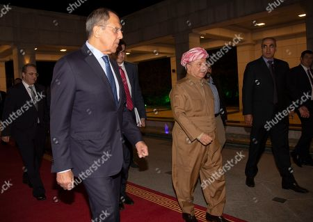 Stock Picture of Masoud Barzani, the head of the Kurdistan Democratic Party in Iraq, (C) welcomes Sergei Lavrov, Minister of Foreign Affairs of the Russian Federation (L), in Erbil, the capital of the Kurdistan region in Iraq, 07 October 2019. Lavrov is on an official visit to Iraq and Kurdistan Region.