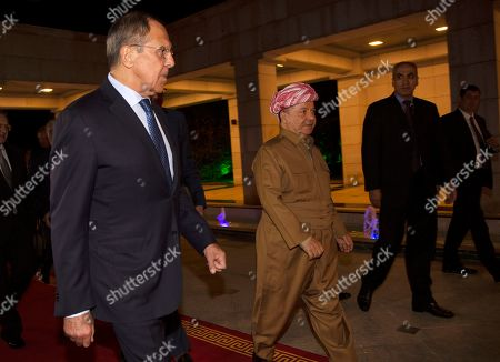 Masoud Barzani, the head of the Kurdistan Democratic Party in Iraq, (C) welcomes Sergei Lavrov, Minister of Foreign Affairs of the Russian Federation (L), in Erbil, the capital of the Kurdistan region in Iraq, 07 October 2019. Lavrov is on an official visit to Iraq and Kurdistan Region.