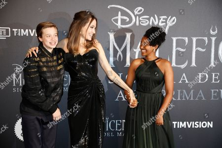 Angelina Jolie arrives with her daughter Zahara Jolie-Pitt, right, and son Shiloh Jolie-Pitt, for the European premiere of the film 'Maleficient: mistress of evil', in Rome