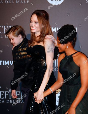 Angelina Jolie arrives with her daughter Zahara Jolie-Pitt, right, and son Shiloh Jolie-Pitt, for the European premiere of the film 'Maleficent: mistress of evil', in Rome