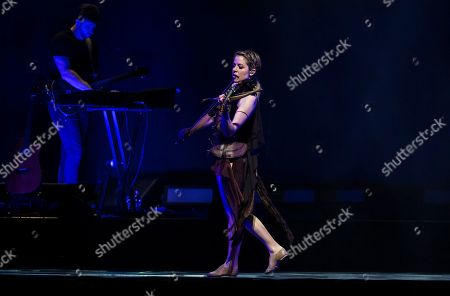 US violinist and singer Lindsey Stirling performs during her concert in Papp Laszlo Sports Arena in Budapest, Hungary, 07 October 2019.