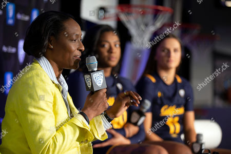 From left to right, California head coach Charmin Smith along with players CJ West and Sara Anastasieksa speak to reporters during the Pac-12 Conference women's NCAA college basketball media day, in San Francisco