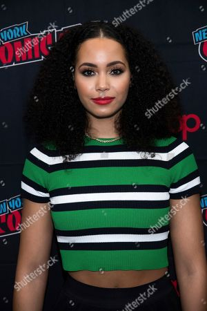 """Madeleine Mantock attends New York Comic Con to promote The CW's """"Charmed"""" at the Jacob K. Javits Convention Center, in New York"""