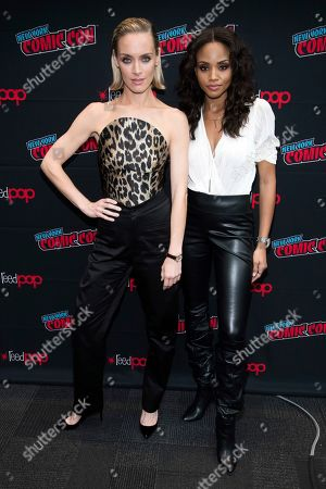 """Rachel Skarsten, Meagan Tandy. Rachel Skarsten, left, and Meagan Tandy attend New York Comic Con to promote The CW's """"Batwoman"""" at the Jacob K. Javits Convention Center, in New York"""