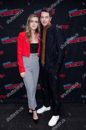 """Melissa Roxburgh, Josh Dallas. Melissa Roxburgh and Josh Dallas attend New York Comic Con to promote NBC's """"Manifest"""" at the Jacob K. Javits Convention Center, in New York"""